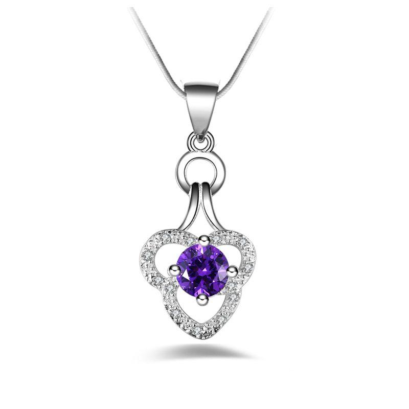 Livraison gratuite mode de haute qualité en argent 925 Double coeur violet diamant bijoux collier en argent 925 cadeaux de vacances de Saint Valentin chaud 1668