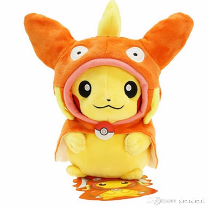 9 Inch Poke Figures Plush Dolls Toys 25CM 7 Styles Children Pikachu Charizard Slowpoke Poke Ball Plush Dolls Toy Cloak Pikachu OTH676