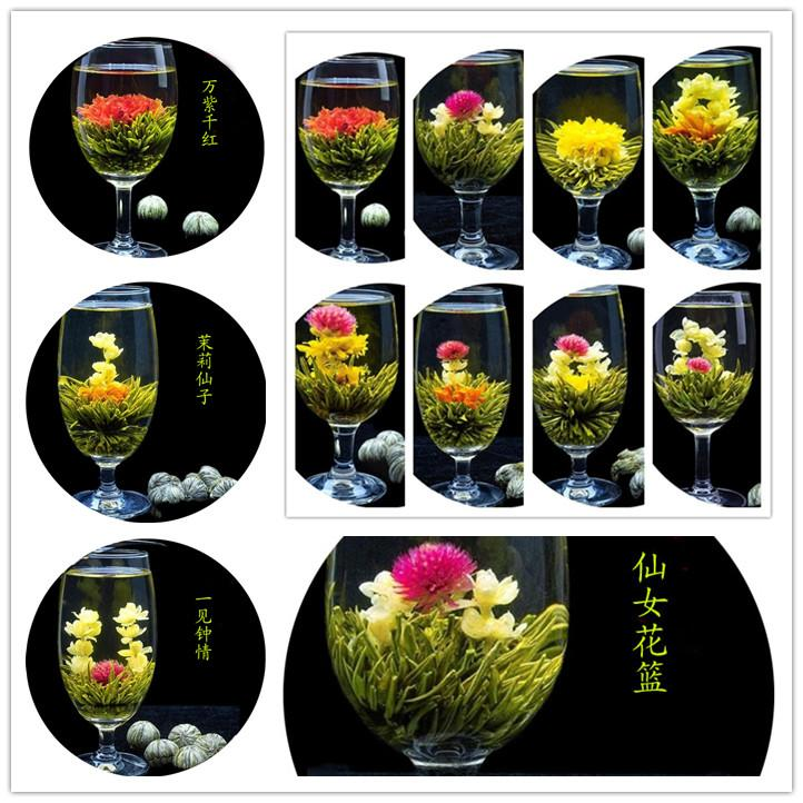 32pcs 16 styles kinds Blooming flower tea leaves Technology Scented tea Art viewing Blossom Flower Process Tea leaves free shipping Hot sale