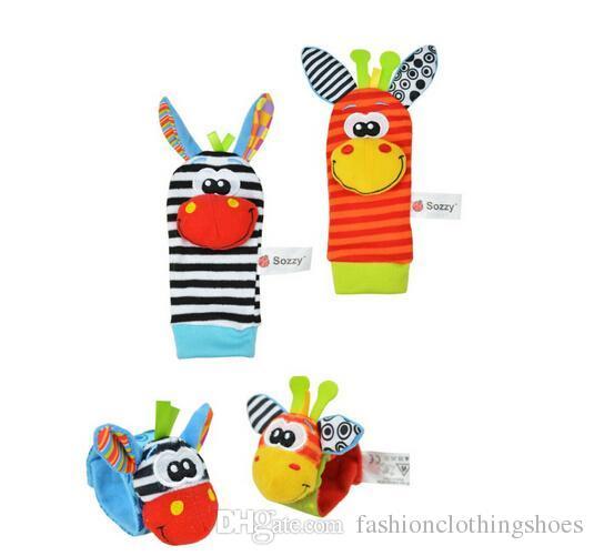 hot New Lamaze Style Sozzy animal rattle Wrist donkey Zebra Wrist Rattle and Socks baby toys =wrist+socks