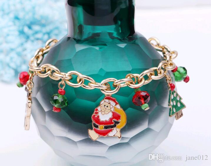 Christmas Gift Fashion Jewellery Chain Bracelets Alloy Oil Drip Santa Christmas Tree Charms Bracelet Cheap Price