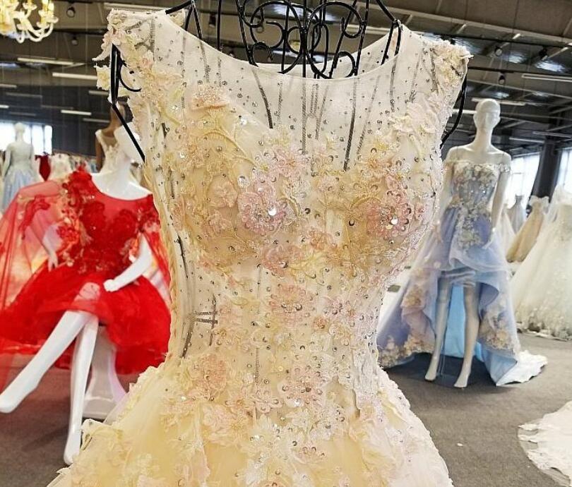 LS00268 royal designer bead muslim one piece popular o nack see through back train wedding dress