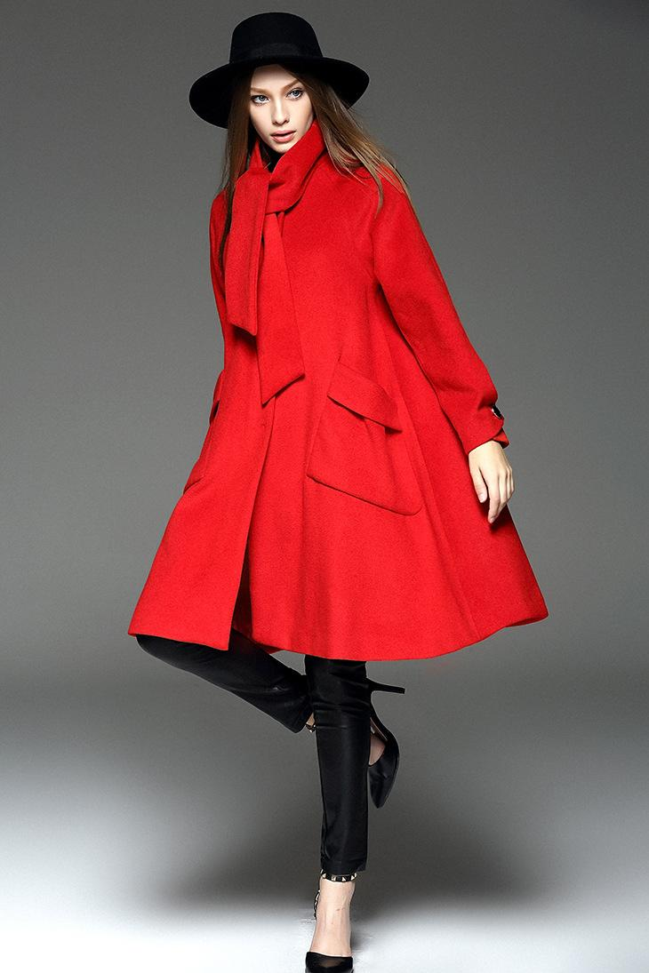 2019 Bow Collar Wool Coat Solid Color Bright Red Woolen
