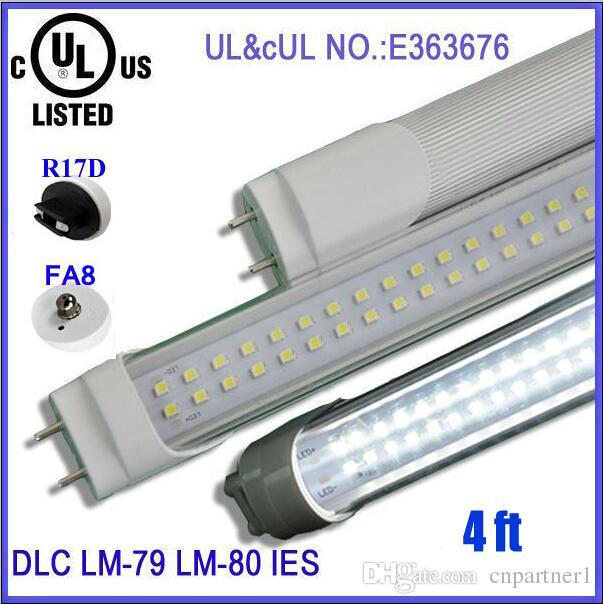 US stock LED Tube T8 4FT 28W 2800LM SMD 2835 2pin G13 192 LEDS Light Lamp Bulb 4 feet 1.2m Double row 85-265V led tubes lighting fluorescent