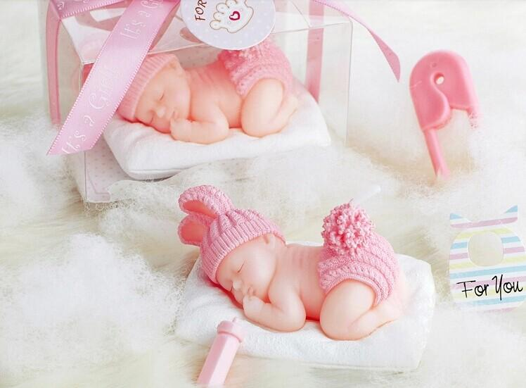 Creative 3D Sleeping Baby candle flameless candles wedding birthday party Baby Shower Favors red blue color