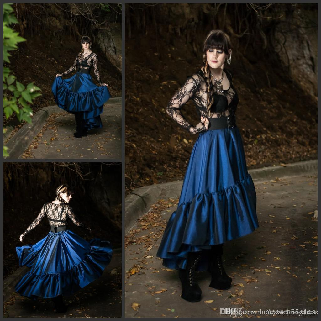 Victorian dresses steampunk skirt lace dark renissance for Blue gothic wedding dresses