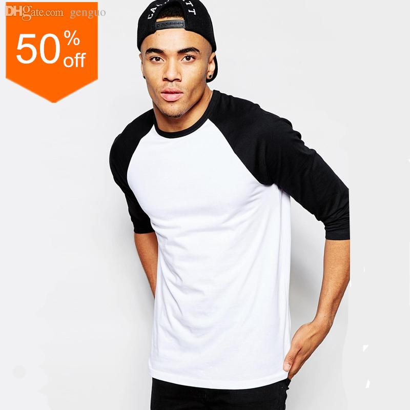 efce6ddc28c Wholesale 3 4 Sleeve T Shirt Mens Raglan Sleeve Baseball Shirt Contrast  Sleeve Raglan Top Fashion Streetwear Baseball Tee Buy Shirts Online Print  Shirts ...