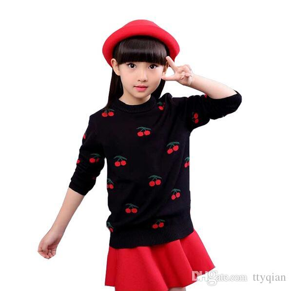 3-13 years Baby Children Girls Kids Clothes Cherry Pullover Knitted Sweaters For Girls Autumn Winter 2017 Jumper Tops