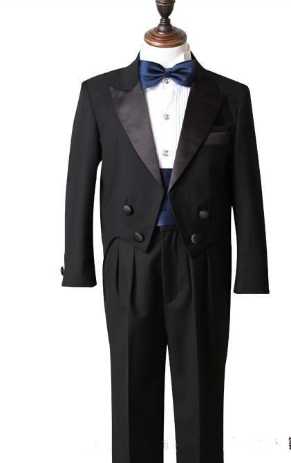 Black Real Picture Two Piece Classic Handsome boy wedding suit Groom Wear & Accessories Boy's Attire Groom Tuxedos Jacket+Pants+Tie+Girdle