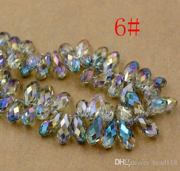Sıcak satış ! 100 adet Faceted Gözyaşı Kristal Cam Gevşek Boncuklu 10 * 20mm Takı DIY 7-color