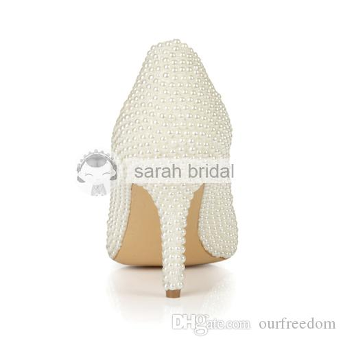 2019 New Design Wedding Shoes With Imitation Pearl Rhinestones High Heel Custom Made Ivory Woman's Party Prom Evening Bridal Shoes LSDN1502