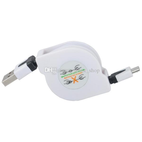 Novo 1 M / 3FT Macio Retrátil Macarrão Micro USB Data Sync Cabo de Carga de Corrente Para Telefones Android