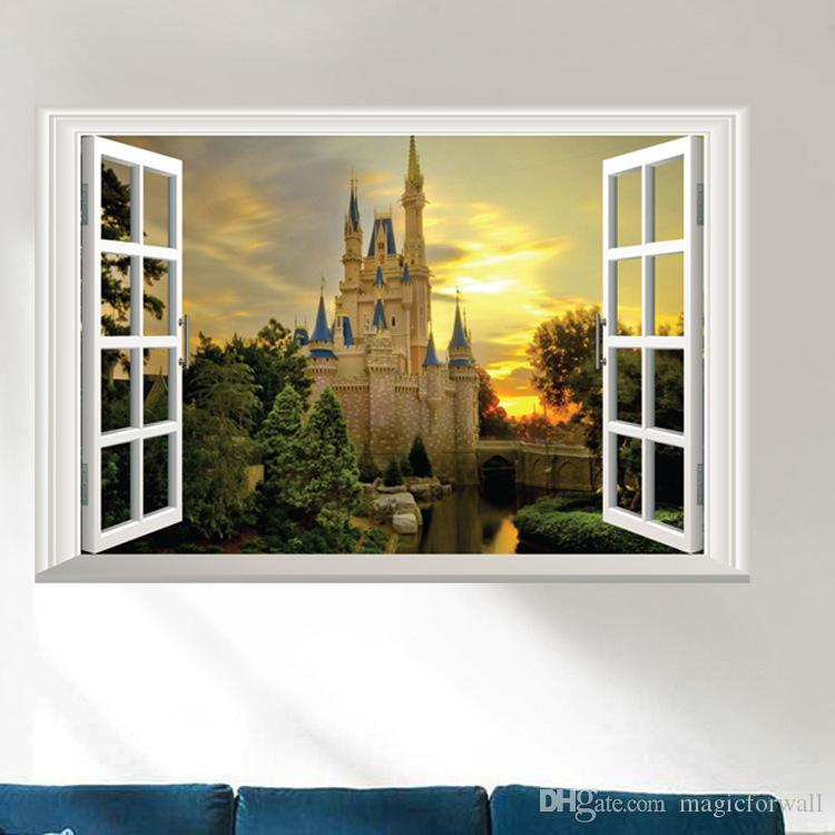 3D Window View Wall Art Mural Decor Castle Orchard of Harvest Lane in Forest Wallpaper Decorative Applique Poster Graphic
