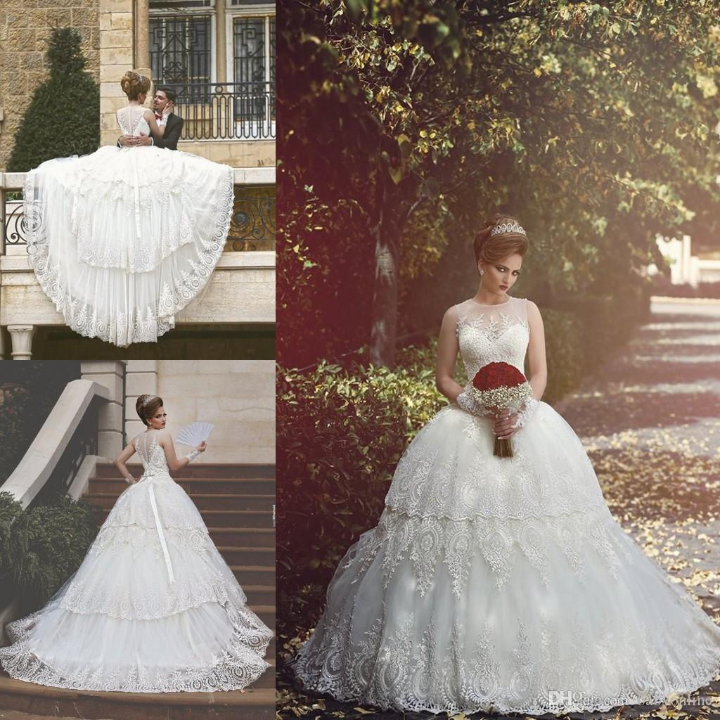2017 Graceful Tiered Lave Skirts Ball Gown Wedding Dresses Vintage Sheer  Crew Neck Illusion Back Lace Applique Plus Size Bridal Gowns BA1009 Cheap  Formal ... 5fcae39afc82
