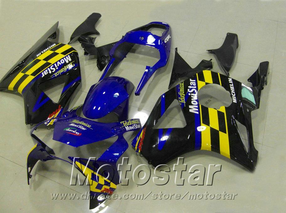 Injection molding Motorcycle parts for Honda cbr900rr fairings 954 2002 2003 blue yellow movistar CBR954RR fairing kit CBR900 RR 02 03 YR26
