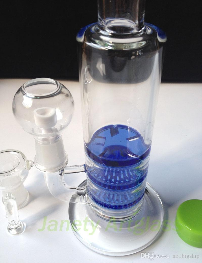 2015 new 3X Honey comb /Tornado perk glass bong water pipe glass hookah with Ceramic Domeless oil rig Blue & Green for recycler oil