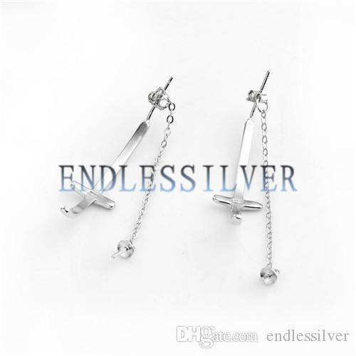 Cross Design Curved Earring Drop Chain Thread Settings 925 Sterling Silver Jewellery Findings for Pearl Party