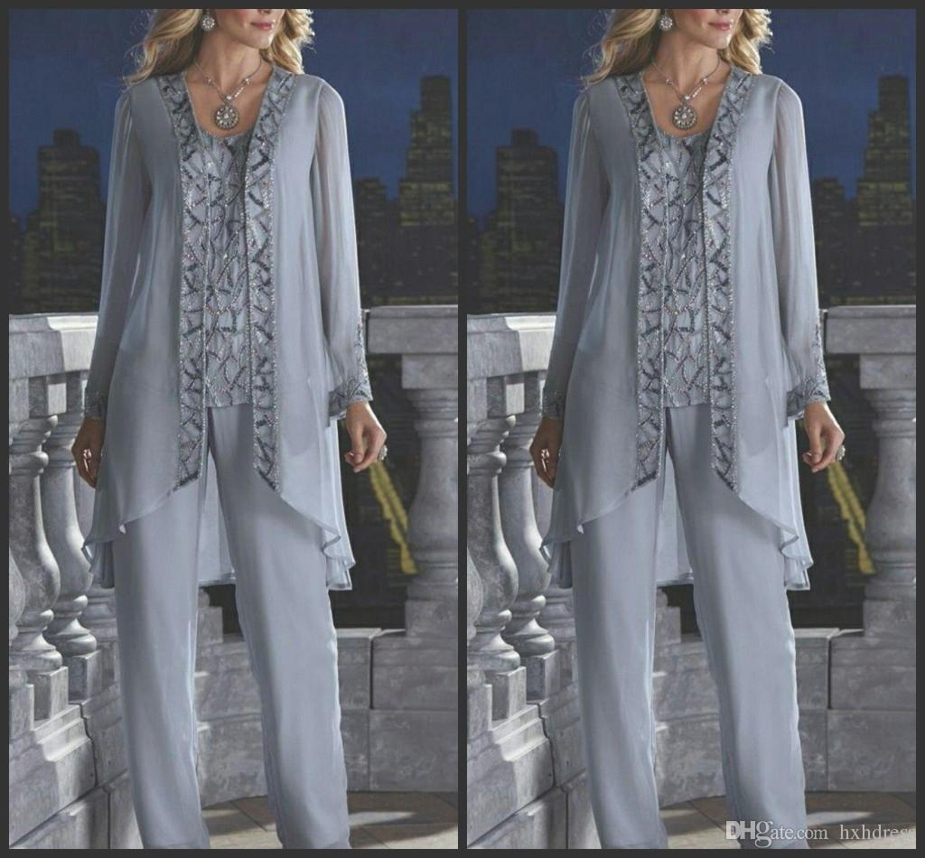 2019 New Mother Of The Bride Groom 3 pezzo Pant Suit Silver Chiffon Beach Wedding Mothers Dress Maniche lunghe Beads Formal Evening Wear 118