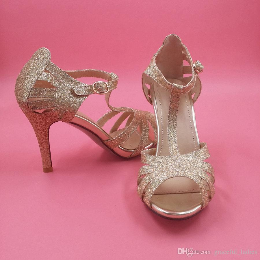 Gold Glitter Wedding Shoes Kitten Heel T Straps Buckle Closure