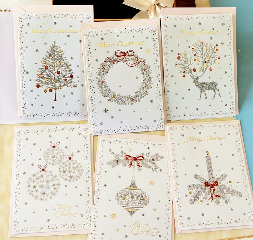Gold Stamp Christmas Cards Glitter Greeting Hollow Creative Cards ...