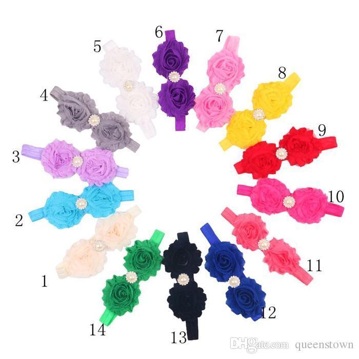 Shabby Flowers Baby Fasce in Chiffon Tessuto Fiore Perle Strass Pulsante i Bambini Accessori Capelli 20 PZ / LOTTO Spedizione Gratuita