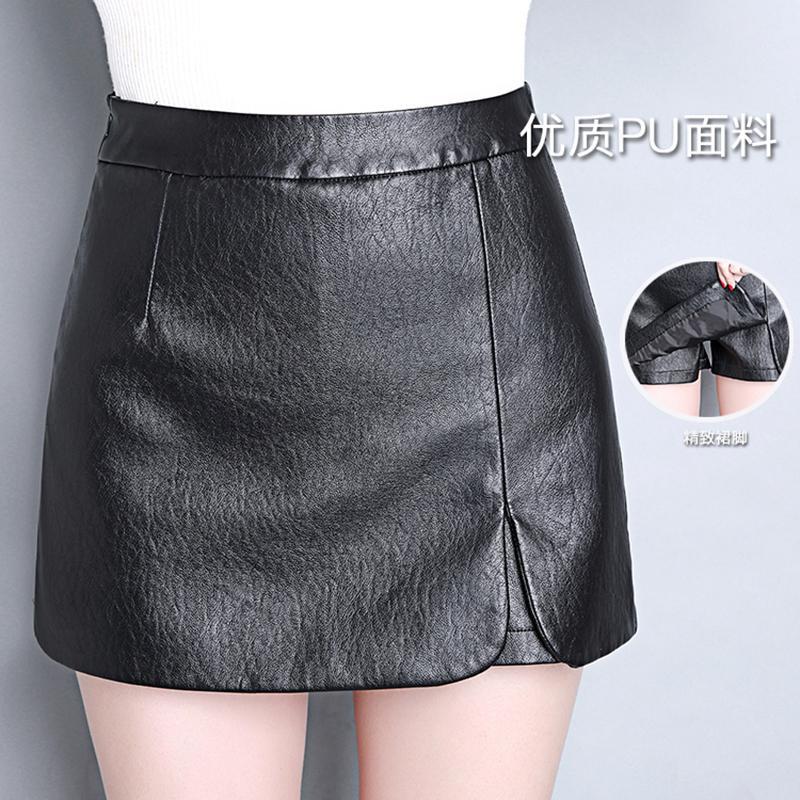 7700f590f1 Compre Al Por Mayor Nuevo 2017 Otoño Mujeres Invierno PU Shorts De Cuero  Faldas Mujer Casual Mini Falda De Las Señoras Mediados De Cintura Negro  Pantalones ...