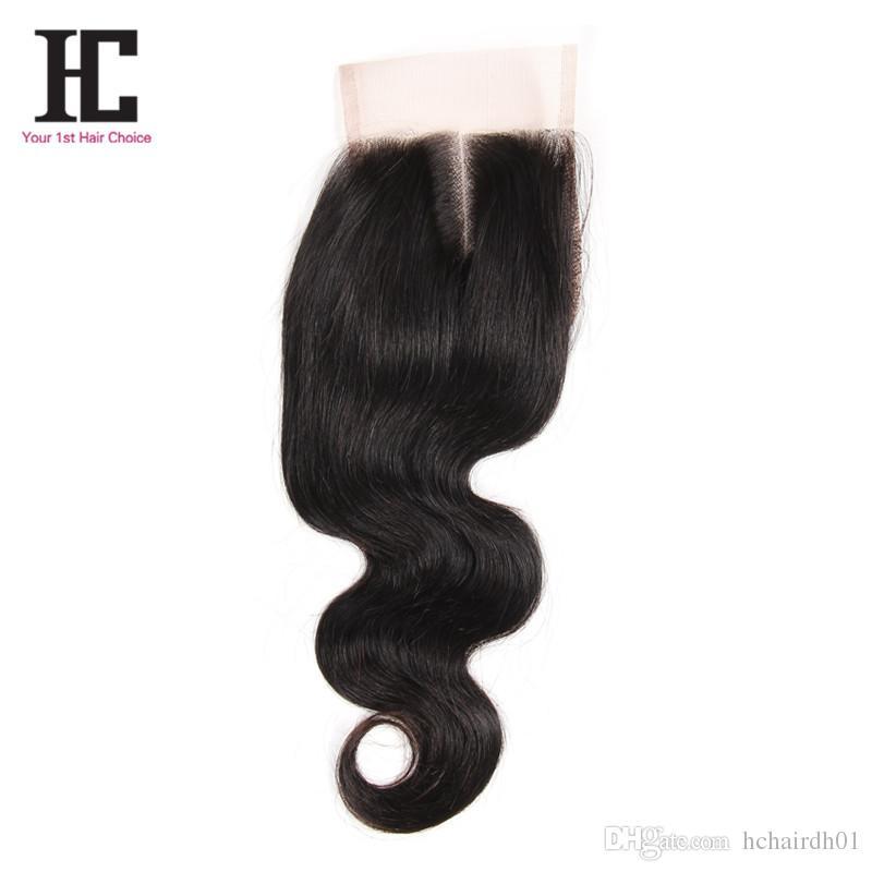 Cierre de encaje Brasileño de la Virgen brasileña del pelo de la Virgen Cierre de la onda del cuerpo Cierre del cordón del pelo humano HC Productos para el cabello