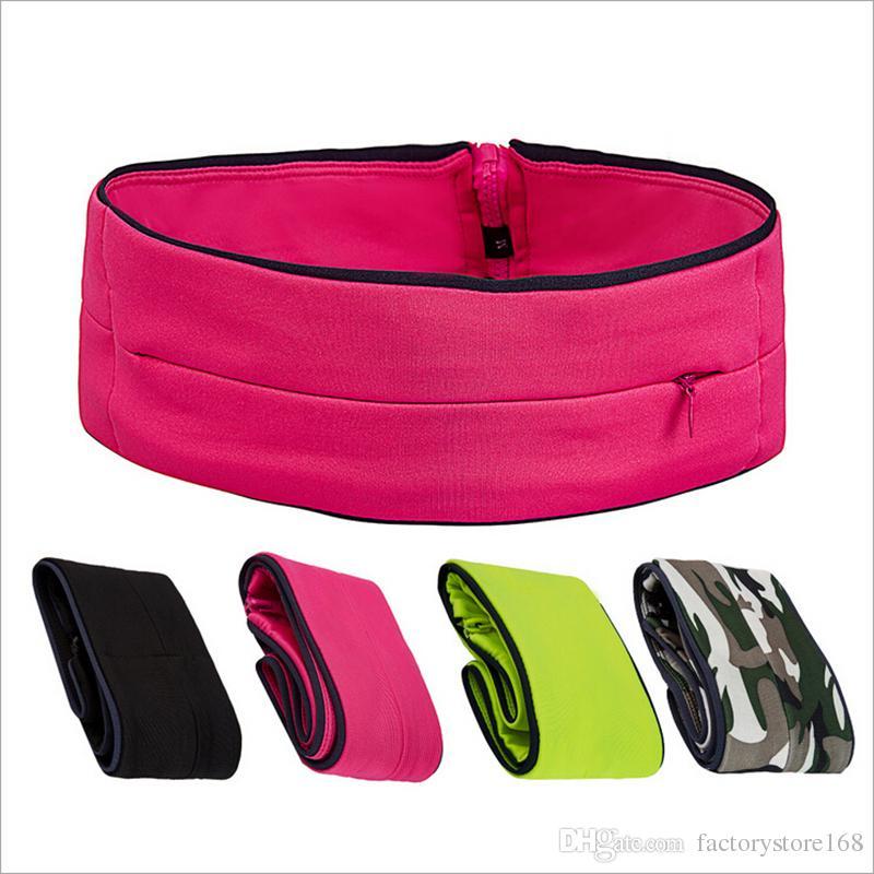 62a5937af60e Multifunctional outdoor sports waist bag women men fitness running fanny  pack hidden zipper Lycra cloth belt bags