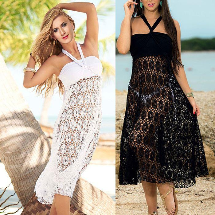 2849e31a454f2 2019 Women White Lace See Through Long Swimwear Cover Up Dress 2015 Summer  Ladies Hollow Out Swimsuit Beach Cover Ups Vestidos From Junlong01