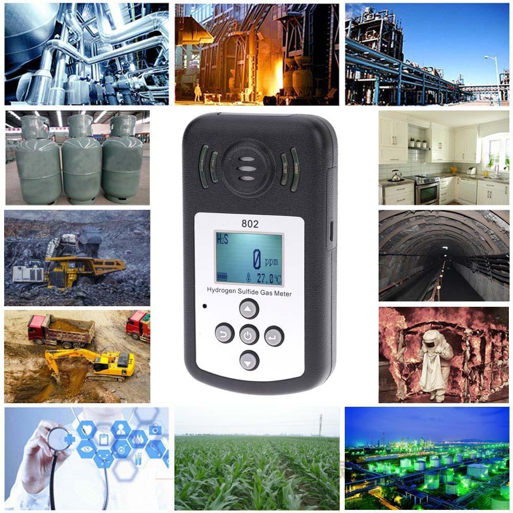 Freeshipping профессиональный ЖК-дисплей сероводород газ H2s метр газоанализатор детектор измерения температуры сигнализации значение Settable