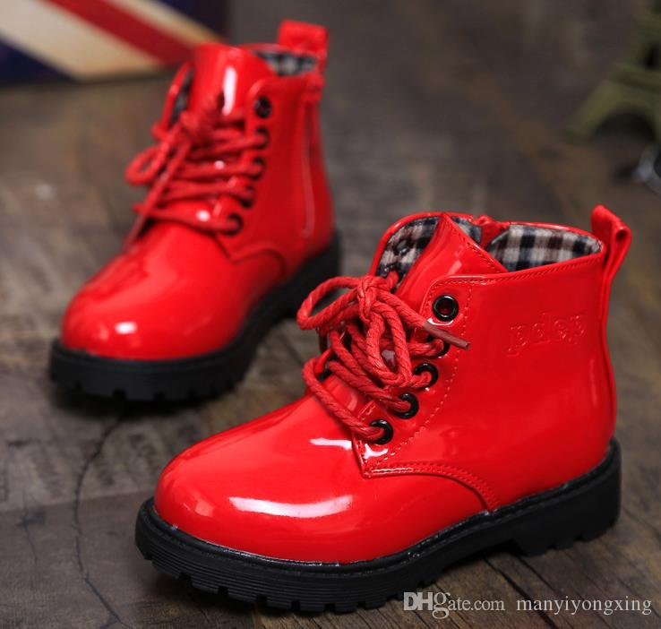 b7ff8a3665db9 ... Girls Boys Kids 2016 New Child Leather Boots Female Child Martin Boots  Boys Shoes Single Shoes  Girls Red ...