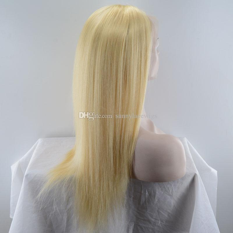 Human hair 613 blond lace front wig straight style full lace wig with baby hair For white women