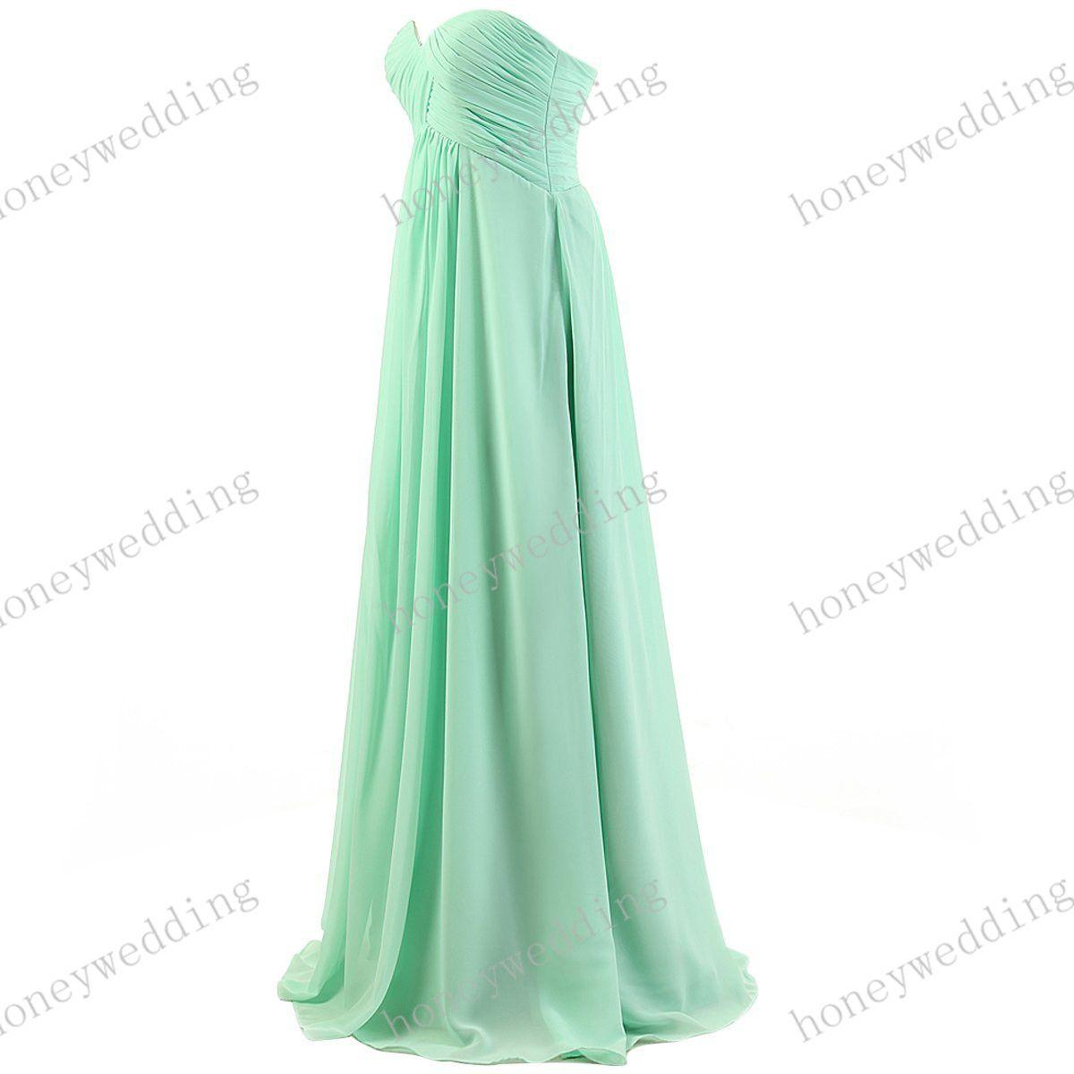 Stock Sheath Szyfonowe Druhna Sukienki Tanie Sweetheart Plisowane Światło Royal Blue Long Prom Wedding Party Dress Druhna Dress