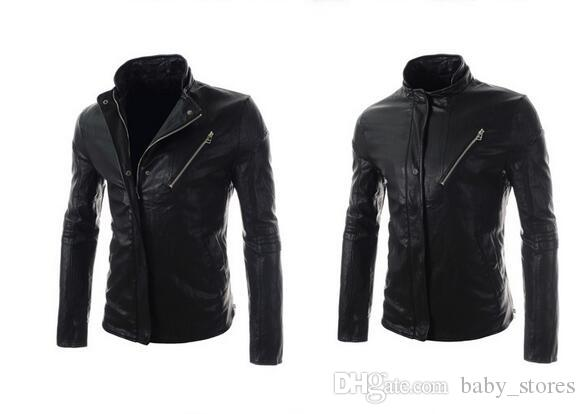 Hot 16 Spring New Styles Mens Leather Jackets Zippers Slim Jacket ...