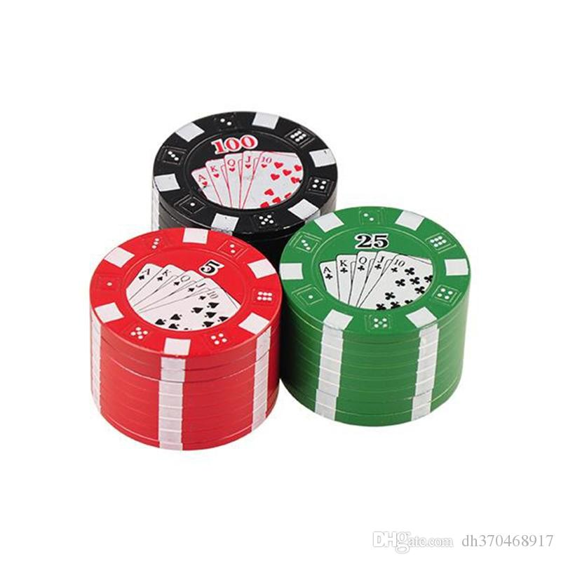 Metal Three Layers Poker Style Herbal Herb Tobacco e cigarette Smoke Crusher Grinder Hand Muller colorful via dhl