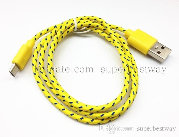 Woven ladekabel v8 micro usb kabelführung für s3 s4 HTC Nokia LG lenovo bunte geflochtene smartphone daten sync kabel geben schiff CAB009 frei