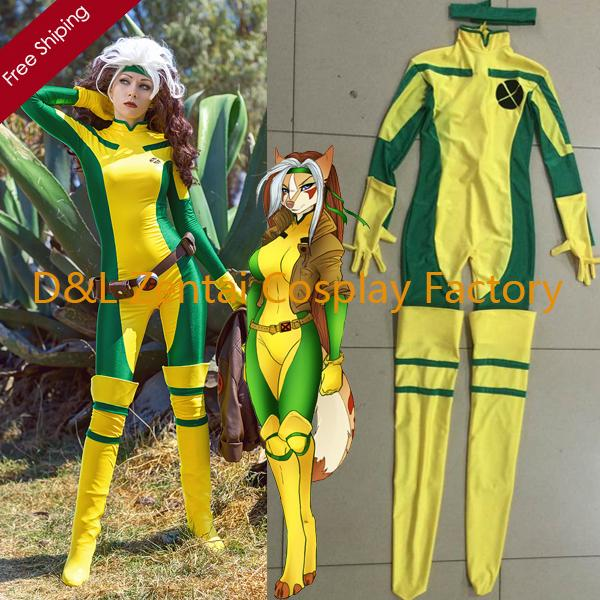 2015 Halloween Costume X Men Rogue Costume Yellow And Green Lycra Spandex Catsuit Superhero Cosplay Costume For Women Rg102