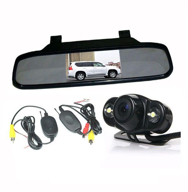 "Wireless HD AUTO Car Rear View Kit Frog Reversing Backup Camera 2 IR LED + 4.3"" LCD Screen Mirror Monitor Display"