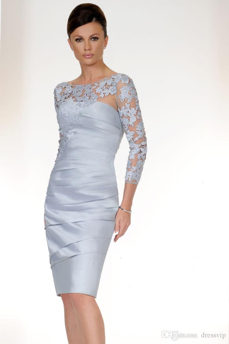Light Blue 3 4 Long Sleeve Mother Off The Bride Dresses