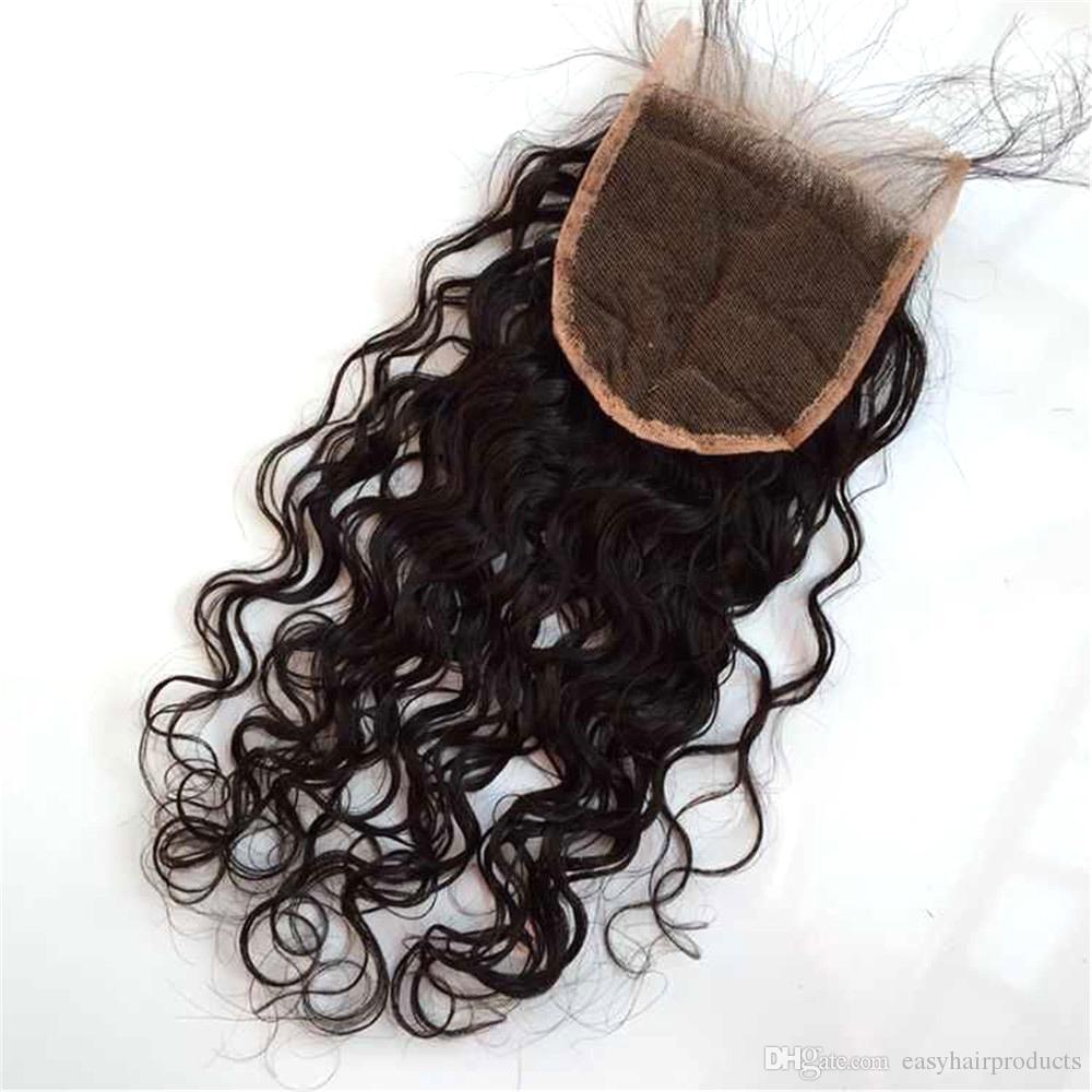 Бразильское закрытие человеческих волос 4 * 4 волна воды перуанские волосы глубокая волна объемная волна прямые отбеленные узлы свободная часть швейцарское кружево закрытие G-EASY