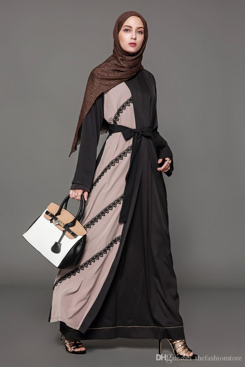 2bd1e44691 2019 New Arrival Plus Size Muslim Women Long Sleeved Lace Maxi Cardigan  Islamic Patchwork Abaya Dress S 5XL Robes From Thefashionstore