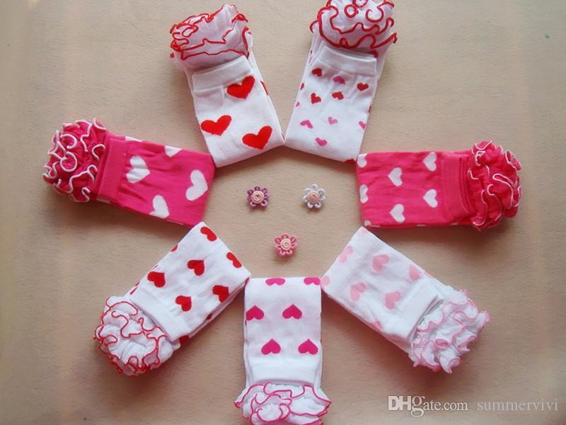Chiristmas Bebek Çorap Aşk Kalp Bacak Isıtıcıları Moda Kız Bacaklar Isıtıcı Ruffles Dantel Şerit Tayt A5618
