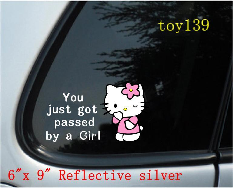 2018 hello kitty you just got passed by a girl vinyl funny car phone window decal sticker not afraid of water reflective red from mysticker