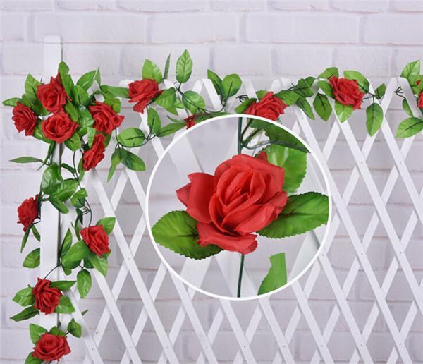 2 m de soie rose fleur rotins roses artificielles guirlandes de fleurs en plastique fleurs pour la fête de mariage supermarché décorations pour la maison 9 couleur
