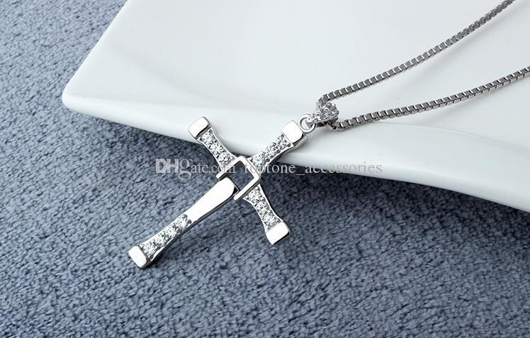 Women New 925 Sterling Silver Cross Pendant Choker Necklace Fast & Furious 7 Jewelry For wholesale