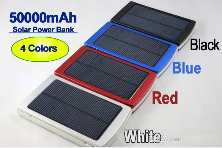 Hot 50000mah Solar Charger and Battery 50000 mAh Solar Panel Dual Charging Ports portable power bank for All Cell Phone table PC MP3