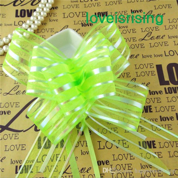 Hot Sale--5cm Large Size Fuchsia Color Organza Pull Bows For Wedding Car Decor Wedding Organza Pull Flower Ribbons Gift Wrap