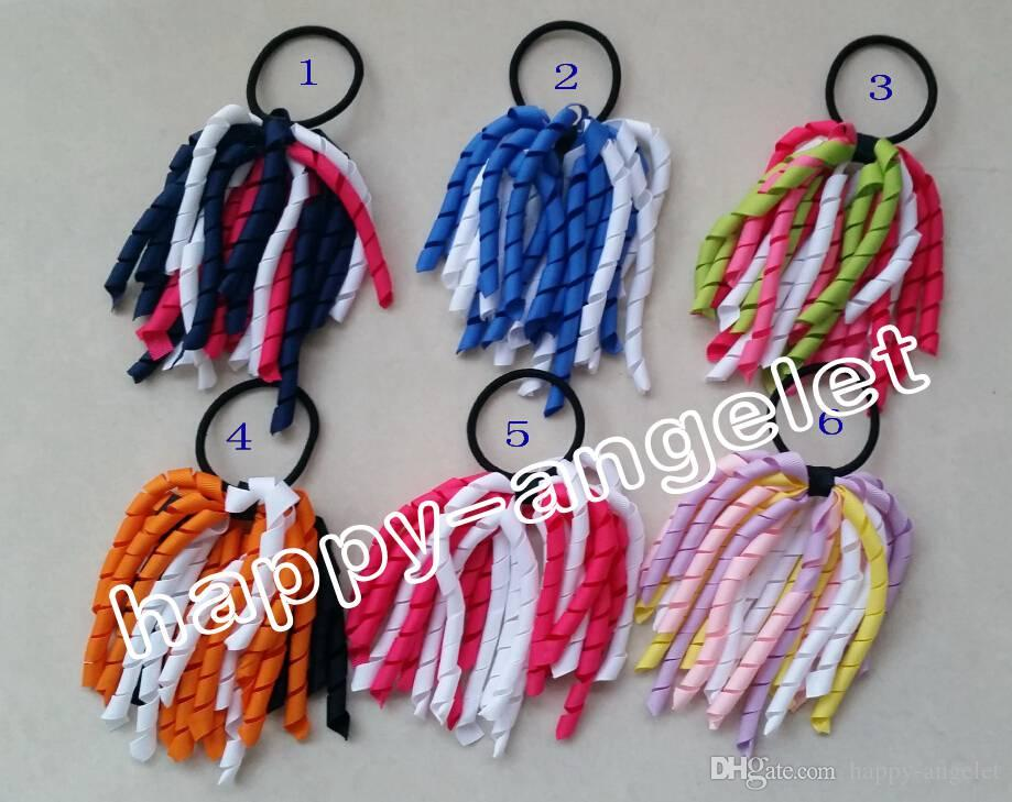 "Girl 5"" O A-korker Ponytail holders korkers Curly ribbons streamers corker hair bobbles bows flower elastic school boosters headwear PD002"