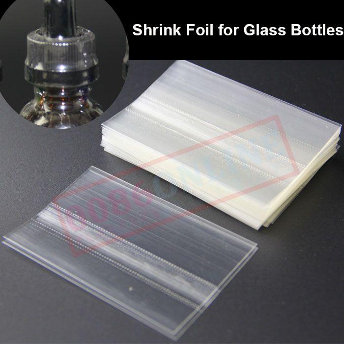 Película de PVC termo-retráctil para calentar botellas de gotero de vidrio E-líquido de 15 ml Juntas termocontraíbles de etiqueta de funda retráctil para botellas de vidrio de e-jugo de 10 ml y 30 ml