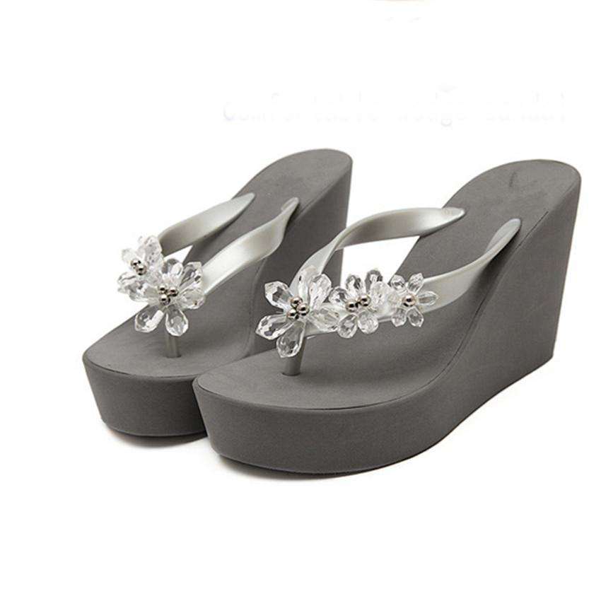 Women Beach sandals Summer Crystal Shoes Woman Flip Flops Wedge Slippers Shoes High Heels Platform Sandals Sapatos Femininos